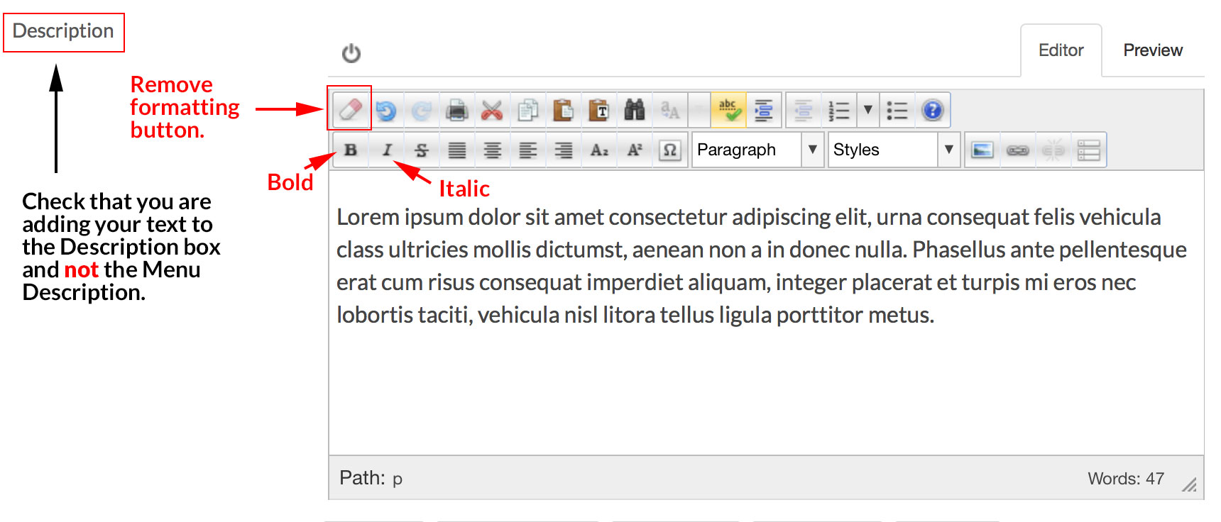 editor add text description v2