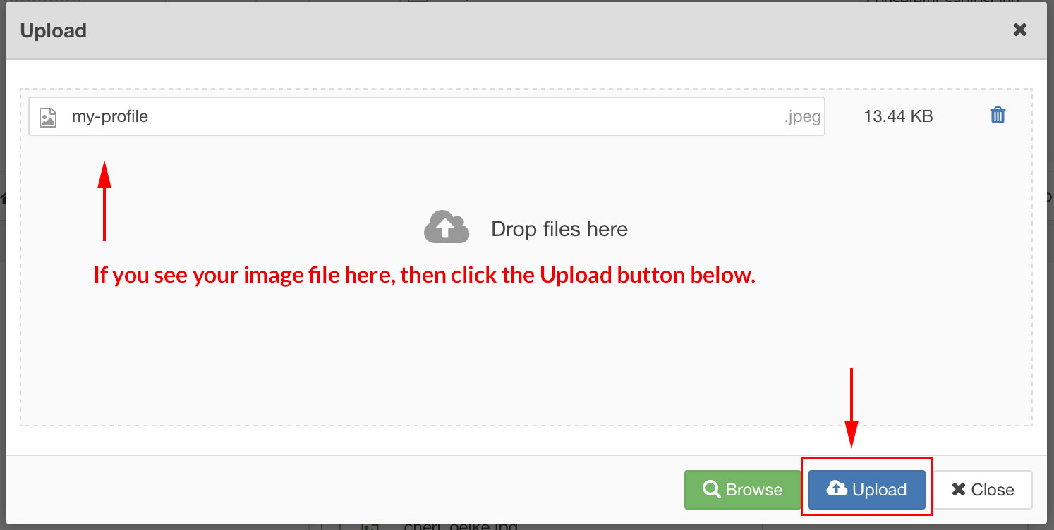 img click upload button